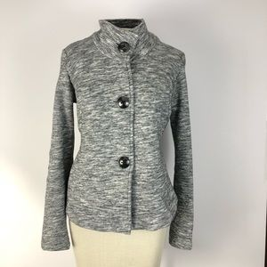 CAbi Small chunky button grey super soft sweater